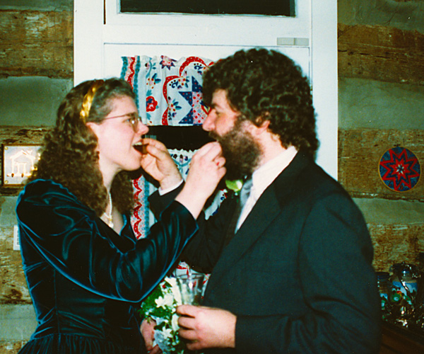 Wedding photo of when we fed each other cake