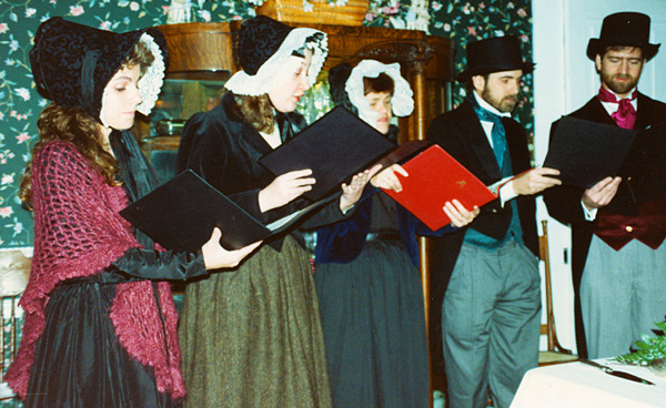 photo of Victorian carolers at my wedding reception