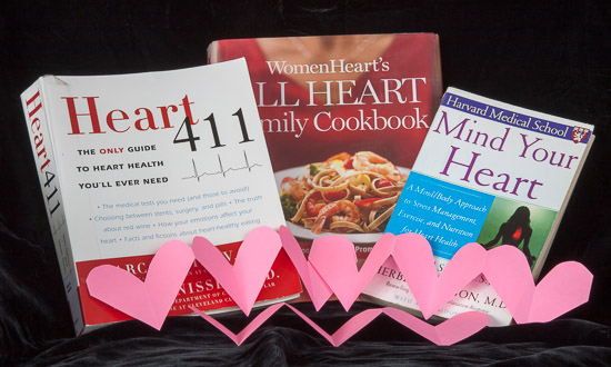 A photo of books and hearts