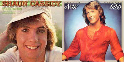 album covers of Shaun Cassidy and Andy Gibbs