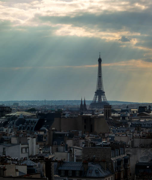 photo of the Eiffel Tower taken from the top of the Centre Pompidou, Paris, France