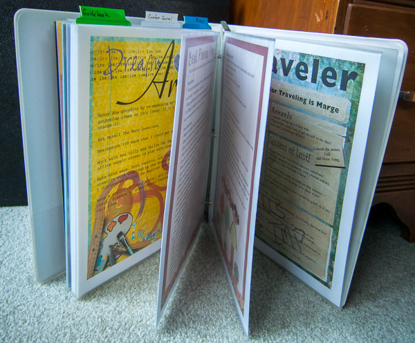 Three ring binder with colorful pages