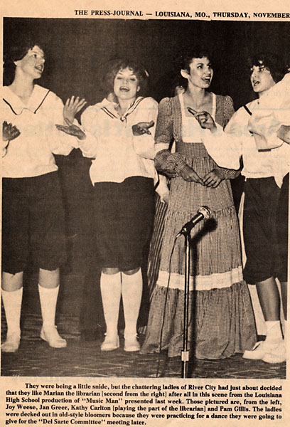 Newspaper clipping of four girls performing in The Music Man, a high school musical production