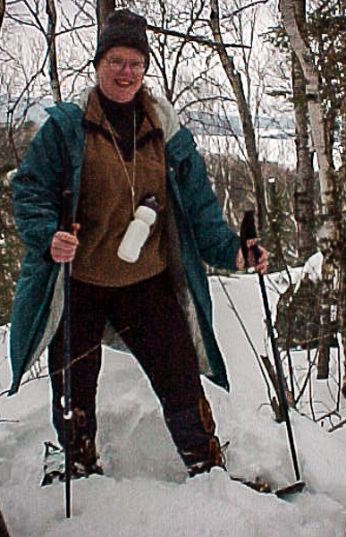 Woman on snow shoes