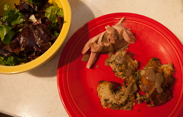 Turkey supper with stuffing and salad